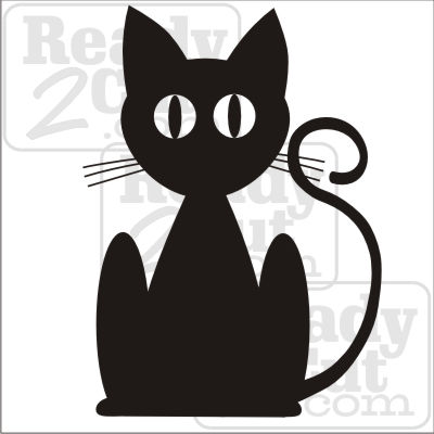 Black cat silhouette art vector download files for Black cat templates for halloween