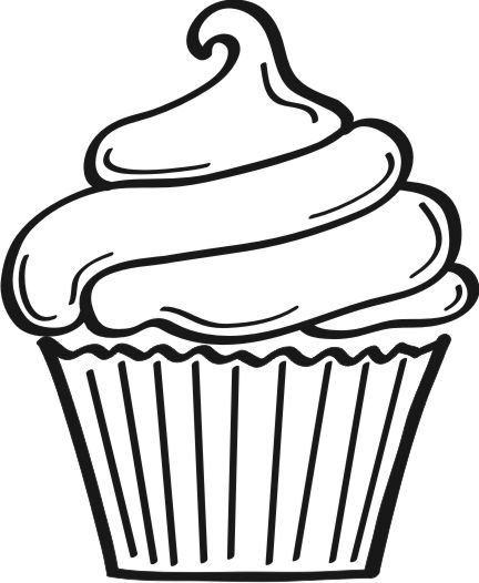 Cup Cake Blank And White Clip Art No Background