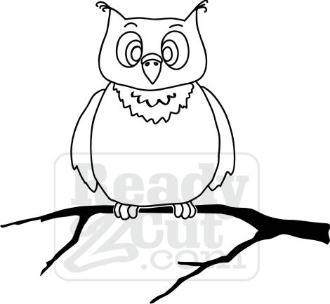 Cute owl sitting on a limb. graphic file