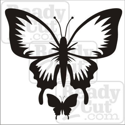 Dramatic single color butterfly and butterfly silhouette - vector files