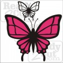 Pretty 2 color butterfly and a small butterfly outline