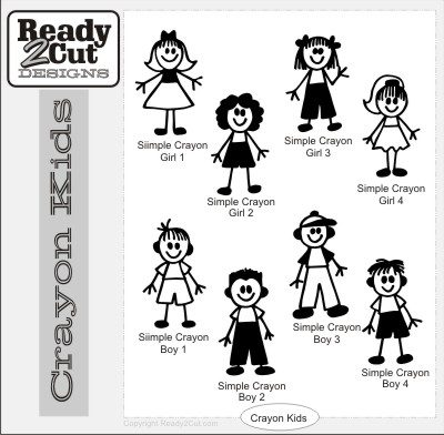 Crayon Kids Simple Figures vector file set. Crayon family style boys and girls.