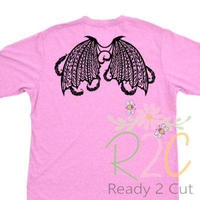 Dark Angel Wings on PinkT-shirt