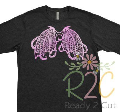 Dark Angel Wings on Black T-shirt