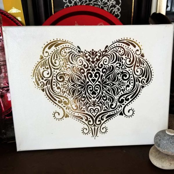 Victorian Heart on stretched canvas