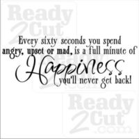 Every sixty seconds you spend angry, upset of mad, is a full minute fo Happiness you never get back!
