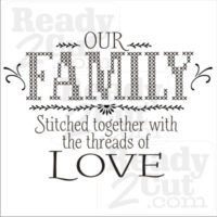 Our family is stitched together with the threads of love. Cross stitch design vector image.