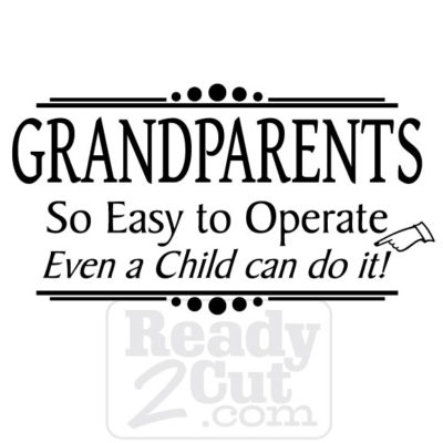 Grandparents - so easy to operate even a child can do it. Vector file download