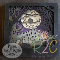 Halloween graveyard papercut shadow box template