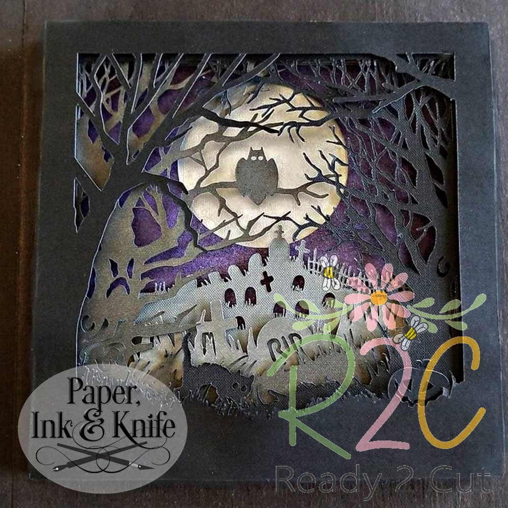Halloween Graveyard Papercut Shadow Box Template
