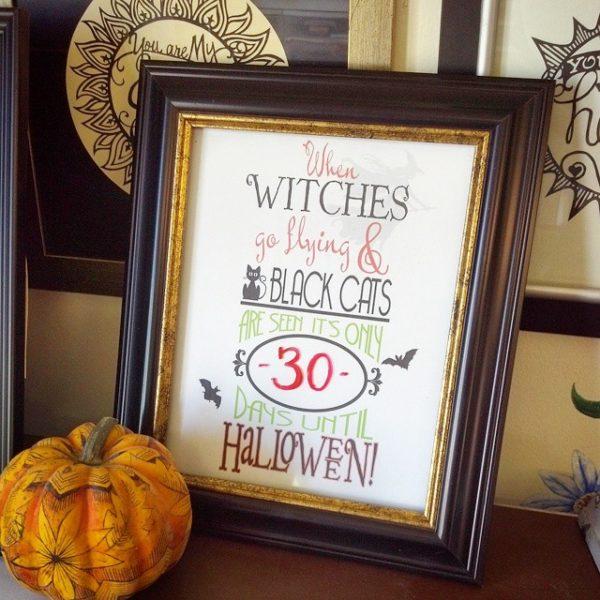 Halloween Countdown Calendar printable.