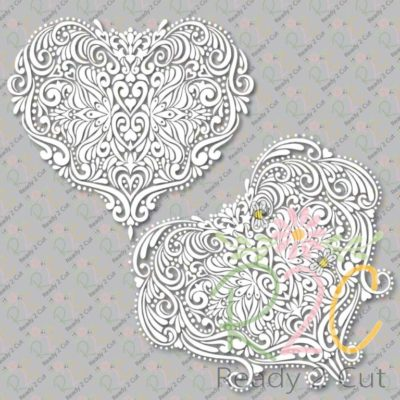 Victorian Heart Intricate design - both versions
