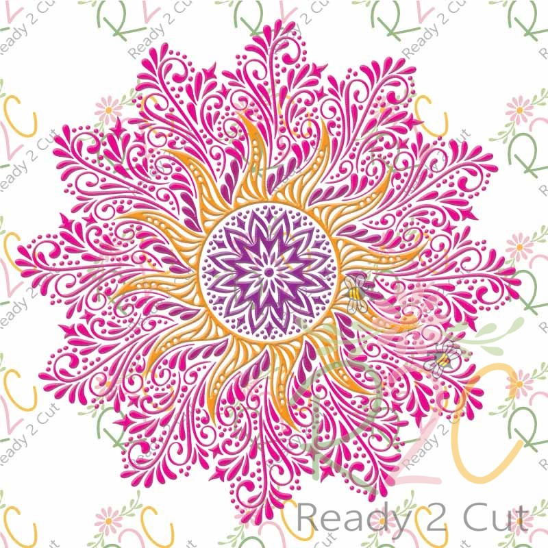 Sunshine Intricate Swirls Includes Coloring Page PDF - Ready 2 Cut Designs