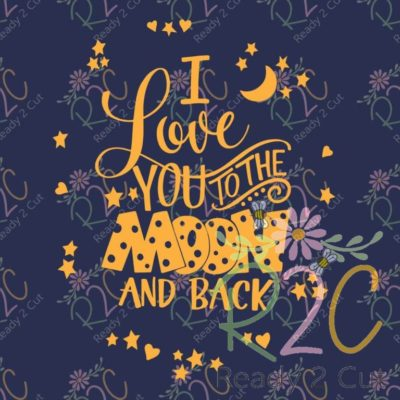 I love you to the moon and back hand lettered vector design