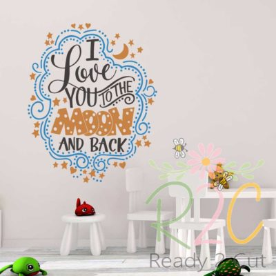 I love you to the moon and back hand lettered vector design on the wall