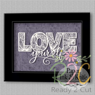 Love yourself papercut design framed.