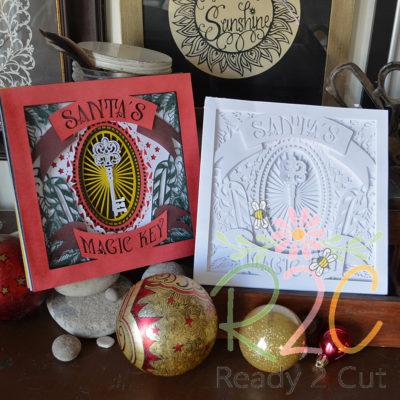 Santa's Magic Key Shadowbox White and colored