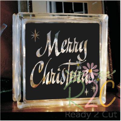 Merry Christmas Glass Block Design