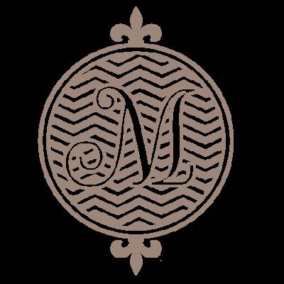 Monogram- round with chevron background - vector image files