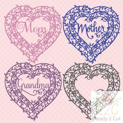 Heart Frame Mom, Mother, Grandma
