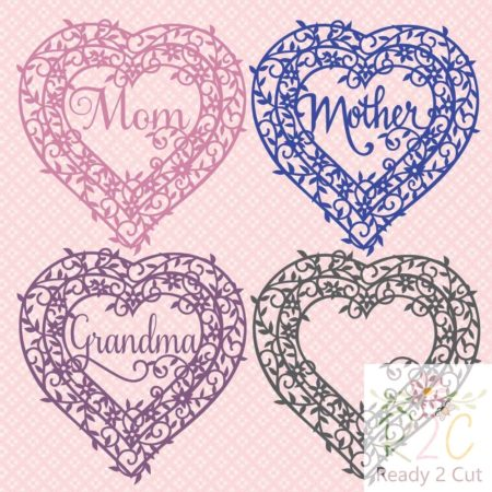 Heart Frame Mom, Mother, Grandma