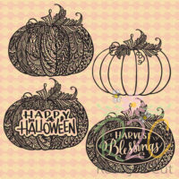 Pumkins with intricate doodles digital file download