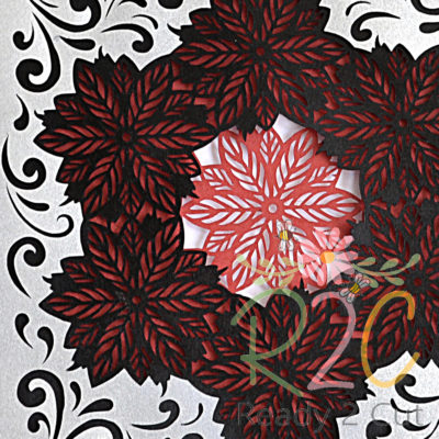 Poinsettia shadow box colored detail