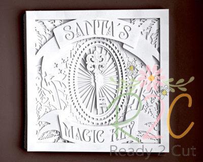Santa's Magic Key Shadowbox White