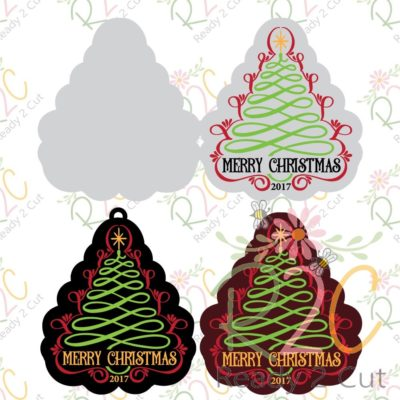 Scroll Christmas tree card and tags