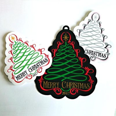 Scroll Christmas tree cards and tag