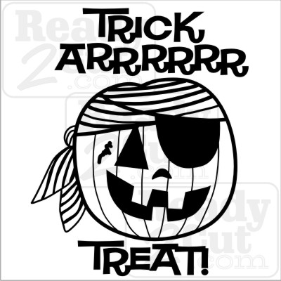 Trick Arrrrr Treat! Pirate pumpkin vector halloween files.