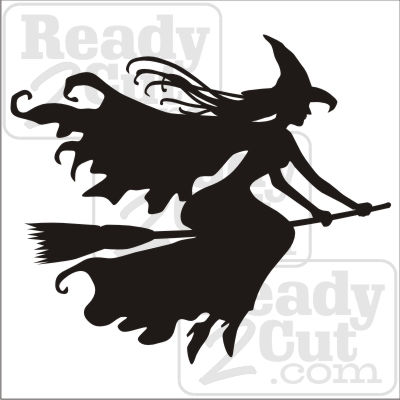 Witch Flying On A Broom Silhouette Art Vector